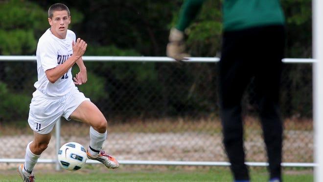 Stevan Austino., playing for Cumberland County College in this photo from 2011, is the new boys' soccer coach at Buena Regional High School.