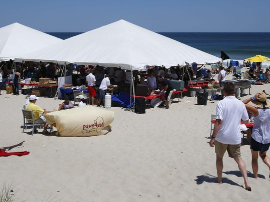 People gather Sunday for the second annual Paws4Vets benefit fundraiser on the beach near Chef Mike's Atlantic Bar and Grill in the South Seaside Park section of Berkeley.