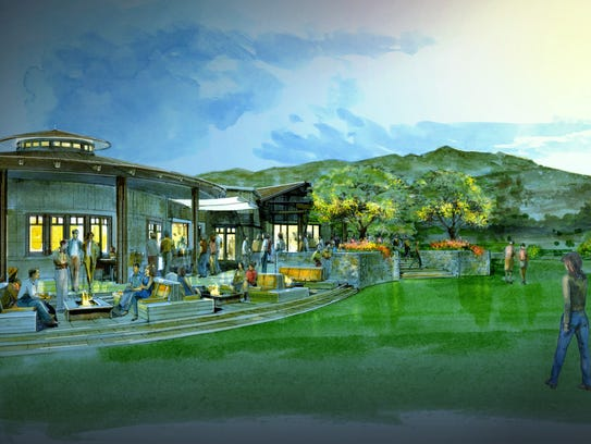 A rendering of the terrace of Trilogy at Wickenburg