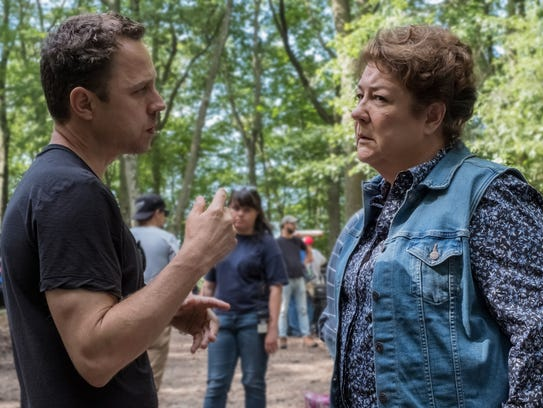 "Giovanni Ribisi on set with ""Sneaky Pete"" co-star Margo"