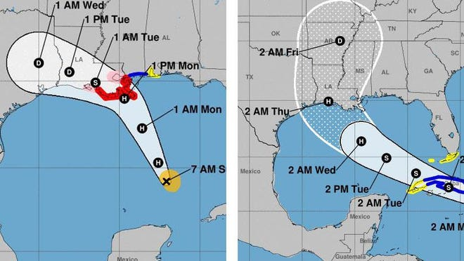 Forecast models as of Sunday morning show Tropical Storm Marco making landfall in Louisiana as a hurricane on Monday afternoon, map on left, followed by Tropical Storm Laura also arriving in Louisiana as a hurricane early Thursday, map on right.