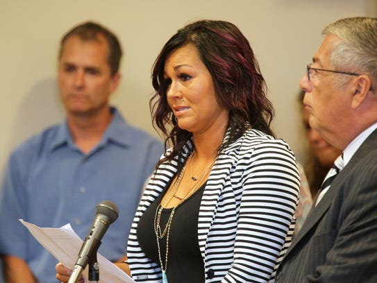 Kristi Blevins, mother of James 'Austin' Hancock reads a statement before Butler County Common Pleas Judge Ronald Craft prior to Austin's sentencing of the shooting of two students and wounding two others at Madison High School Feb. 29.