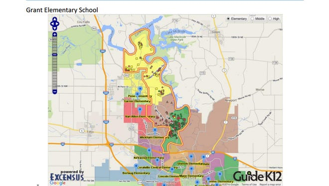 An initial scenario depicting a potential attendance zone for Grant Elementary.