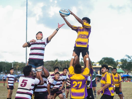 The Father Duenas Friars faced the George Washington Geckos in the IIAAG Boys Rugby semifinals last year, as shown in this file photo. The two teams clash for the title on Friday.