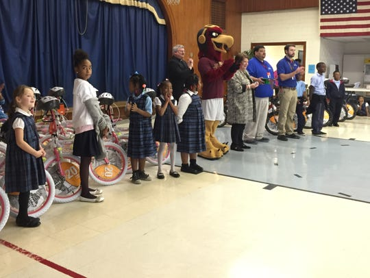 Students' names were drawn Wednesday as part of a bicycle