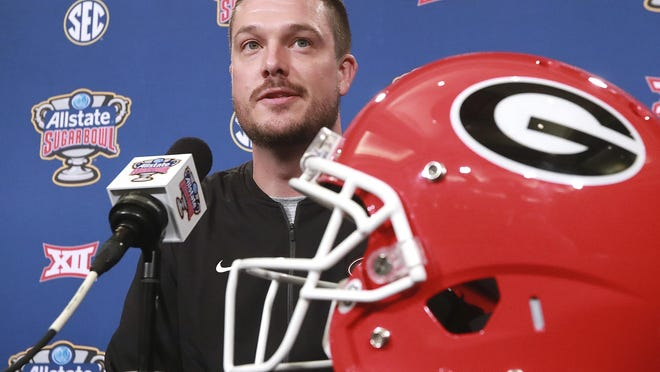 Dan Lanning, then  the assistant coach outside linebackers, takes questions during the Georgia defense press conference for the Sugar Bowl against Texas on Dec 29, 2018, in New Orleans.