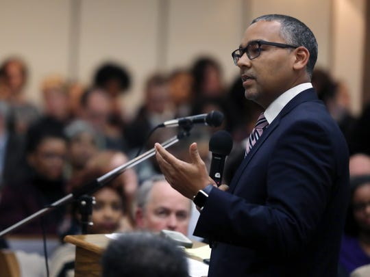 """Patrick Johnson, SVP at Meharry Medical College, speaks during """"Conscious Conversation,""""  a community meeting to discuss the future of Nashville General Hospital held at First Baptist Church Capitol Hill, Thursday, January 11, 2018."""