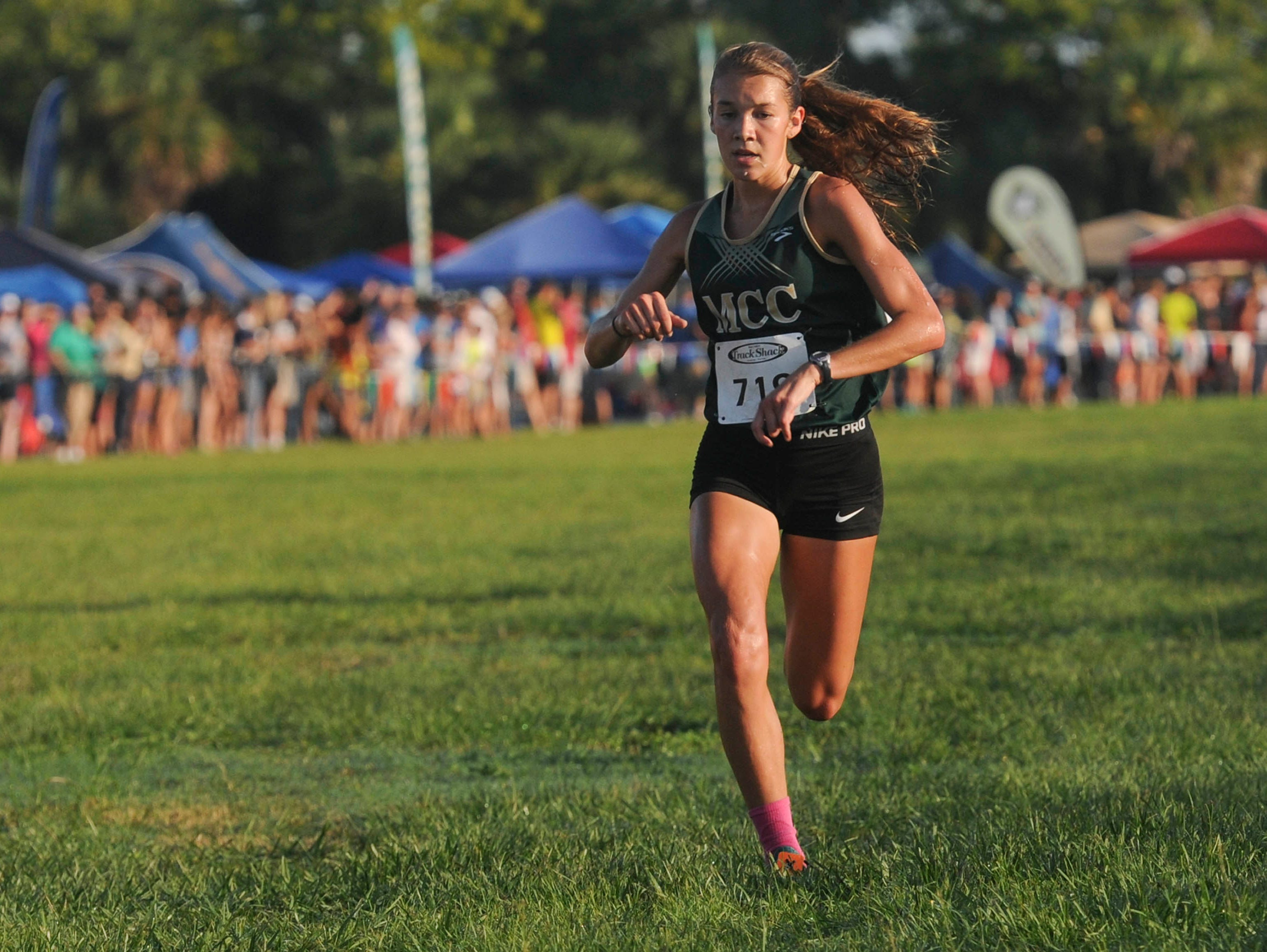 Amanda Beach of Melbourne Central Catholic, pictured running early in the 2016 cross country season, ran in San Diego in the Foot Locker National race on Saturday.