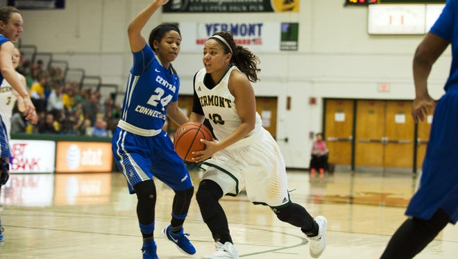 Vermont's Kylie Atwood (10) drives to the hoop past Central Connecticut's Aleah Epps (24) during a women's basketball game at Patrick Gym on Friday.