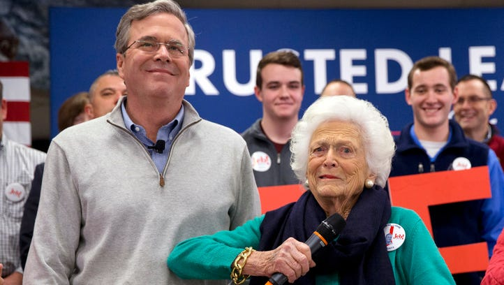Barbara Bush jokes with her son Jeb Bush while introducing him at a town hall meeting at West Running Brook Middle School in Derry, N.H., on Feb. 4, 2016.
