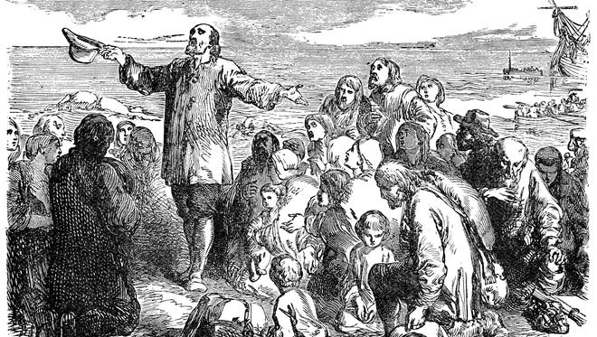 An engraved illustration of the Pilgrim Fathers leaving England, from a Victorian book dated 1883