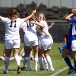 Southern Utah celebrates a goal Sunday, while Cal State Bakersfield player Alex Bachman walks away.