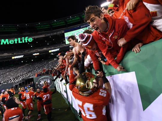 Non-Public Group 4 state football final at MetLife Stadium in East Rutherford, on Friday, December 1, 2017. Bergen Catholic celebrates defeating St. Peter's Prep.