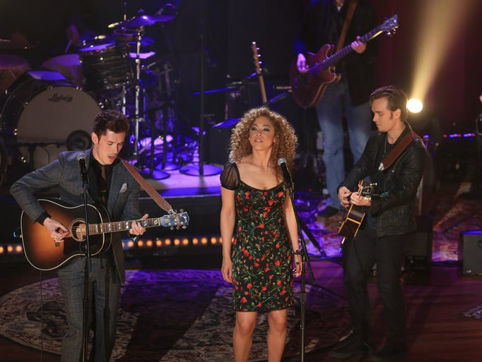 Sam Palladio (as Gunnar Scott), left, Chaley Rose (as Zoey Dalton) and Jonathan Jackson (as Avery Barkley) perform during the show's taping at the Ryman Auditorium March 29, 2014.
