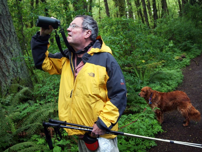"""""""I was here a couple days ago and saw Mama Owl come in with a mouse,"""" said park visitor Rick Wagner, with his dog Espy. Tryon Creek State Park, Oregon's only state park in a major metropolitan area, features miles of horse and hiking trails within a handful of miles of downtown Portland. Owl-filled forests cover the creek and the surrounding 645 acres between Portland and Lake Oswego on Thursday, April 29, 2010."""