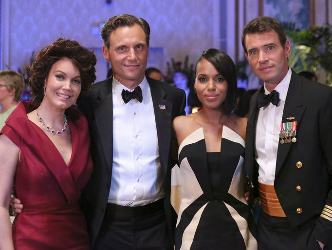 Olivia Pope (Kerry Washington, second right,) is a powerful woman surrounded by powerful men, including the president (Tony Goldwyn), second left, and a skilled military man (Scott Foley). (Bellamy Young, who plays the first lady, is at left.)