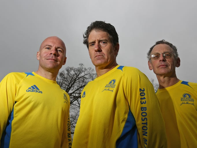 Doug McEnroe, left, of Stony Point, Patrick Parietti of Nyack, and Michael Nusblat of Stony Point, all ran last year's Boston Marathon. The three, photographed at Rockland Lake State Park April 15, 2015, are all returning to run in this year's marathon.