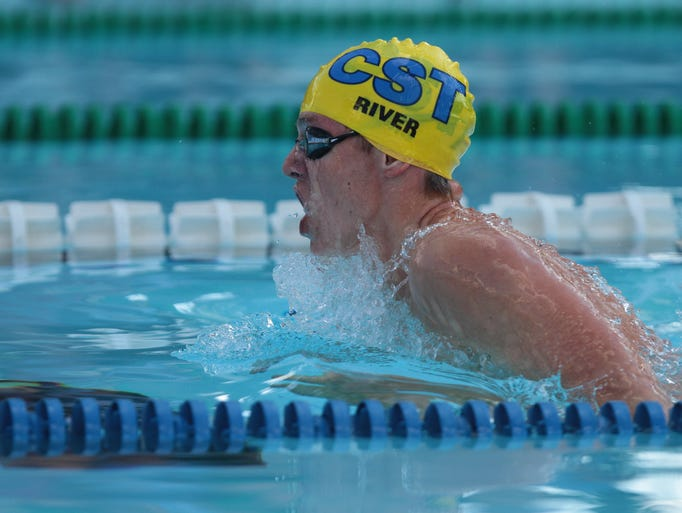 Chappaqua Swim Team's River Elms competes in the Boys 17 and Under 200 Yard IM during the 89th annual Westchester County Swimming Championships at Rye Playland Pool July 28, 2014.