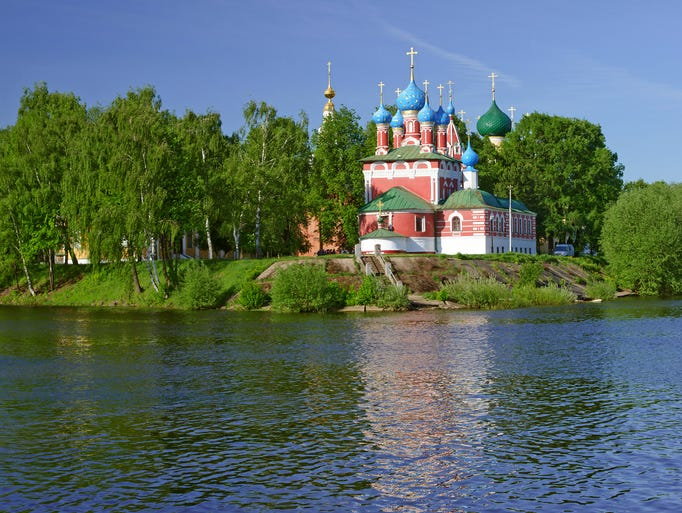 Church of Dmitry on Blood in Uglich, Russia,                                                          stands out                                                          with it