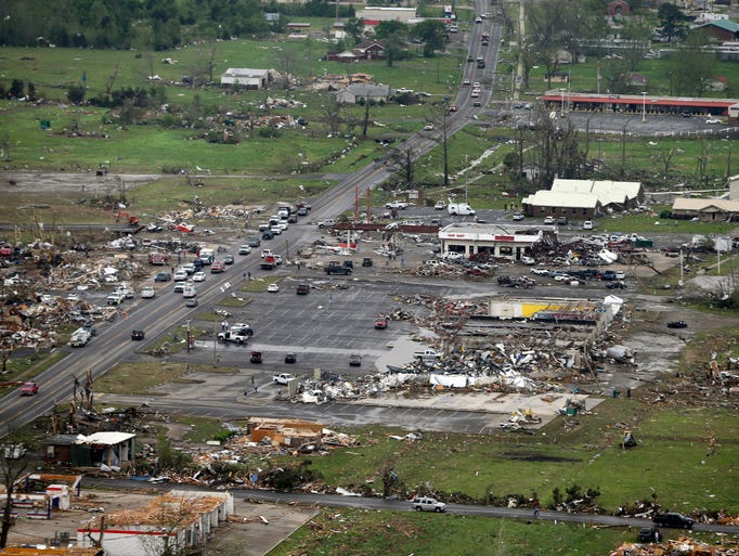 Businesses were destroyed by a tornado in Vilonia.