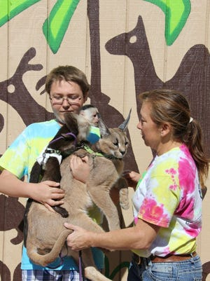 Langston Navarro is seen with animals from Roos-N-More during a fundraiser.