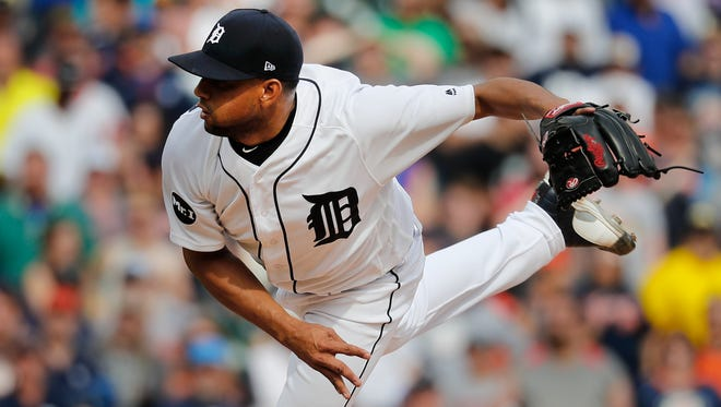 Tigers pitcher Francisco Rodriguez (57) throws in the ninth inning of the Tigers' 2-1 win Monday at Comerica Park.