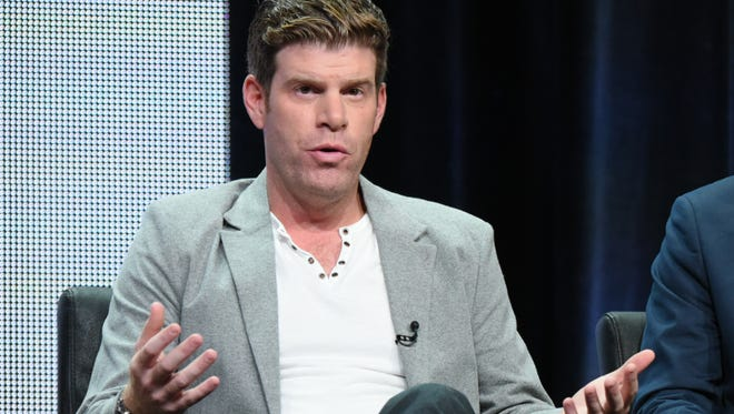 """FILE - In this Aug. 7, 2015, file photo, Steve Rannazzisi participates in """"The League"""" panel at the FX Summer TCA Tour at the Beverly Hilton Hotel in Beverly Hills, Calif. The Buffalo Wild Wings company said in a statement Thursday, Sept. 17, it will stop airing TV commercials featuring comedian Steve Rannazzisi, who said that he lied about being in the World Trade Center during the Sept. 11 attacks. (Photo by Richard Shotwell/Invision/AP, File)"""