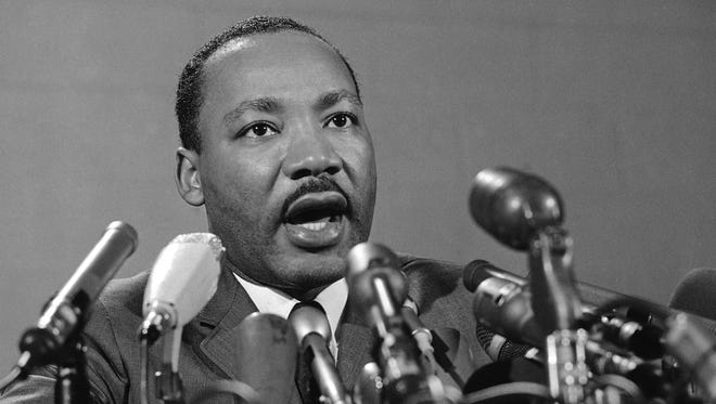 """Martin Luther King Jr., speaks at a news conference March 24, 1967, in Chicago. A few weeks later, he delivered the anti-war """"A Time to Break Silence"""" speech. A part of that address is prompting the creation of original videos in Central Minnesota to coincide with the Jan. 18 holiday honoring King."""