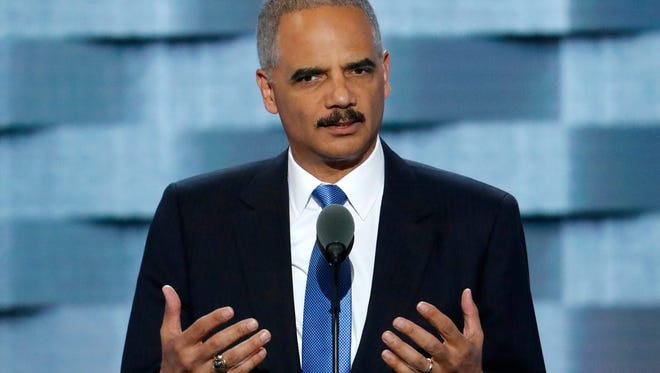 Former Attorney General Eric Holder speaks during the second day of the 2016 Democratic National Convention in Philadelphia in this file photo.