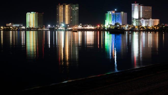 Pensacola Beach comes to life at night on Nov. 28.