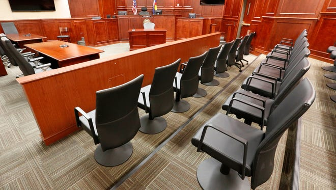 The jury box of a Colorado courtroom.