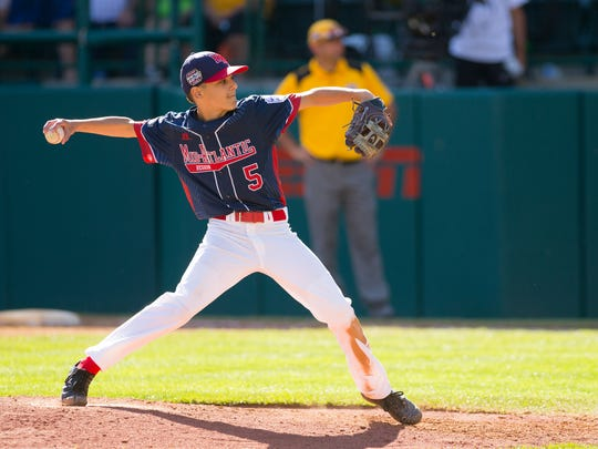 Maine-Endwell's Michael Mancini pitched a thirteen stikeout game Monday, during their 3-1 win over Goodlettsville, Monday, at the Little League World Series in Williamsport.