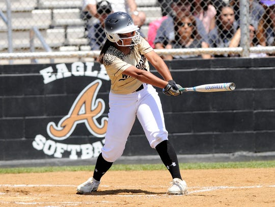 Abilene High's Jaiden Franklin (5) hits an RBI double