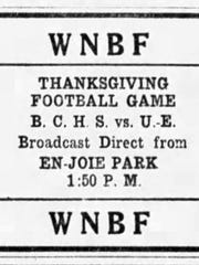 The annual Thanksgiving football games was broadcast