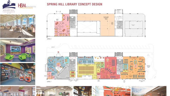The concept design plan for the new Spring Hill Public Library, which will be relocated to a renovated space at the Northfield Conference Center.