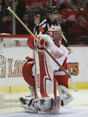 Detroit Red Wings goalie Jared Coreau reacts after allowing a goal during the first period against the Boston Bruins on Wednesday, Jan. 18, 2017 at Joe Louis Arena in Detroit