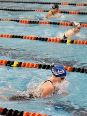 Spring Grove's Abigayle Keating swims the 200-yard IM in the YAIAA Swimming Championships Thursday, Feb. 9, 2017, at Central York.