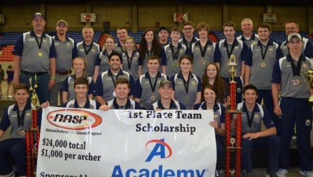 Hartland was ring champs at National Archery Sports Program competition at the Louisville (Ky.) Exposition Center on Saturday.