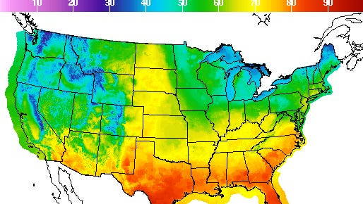 National Weather Service temperature map from Sunday through Monday.