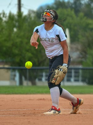 Pueblo South's Emily Abraham delivers a pitch in the second inning against Air Academy on Thursday, Aug. 20, 2020 at Alia Field.