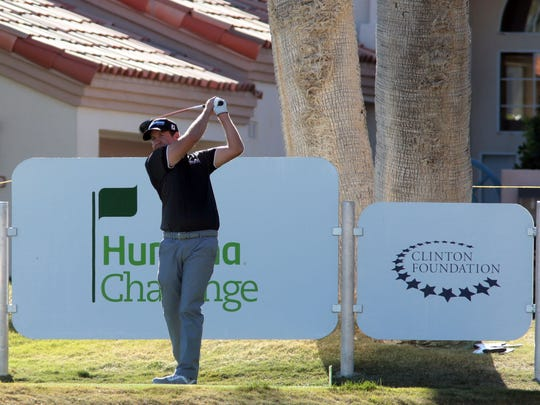 Erik Compton tees off on No. 18 on the Nicklaus Private Course during the third round of the Humana Challenge on Saturday. Compton shot a 5-under 67 on Saturday is part of a four-way tie for the lead.