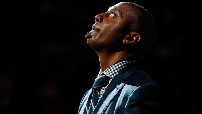 Former Memphis Tigers and NBA All-Star Penny Hardaway Memphis Grizzlies Los Angeles Lakers during first quarter action at the FedExForum in Memphis, Tenn., Monday, January 15, 2018. Hardaway was a honoree of the 13th Annual National Civil Rights Museum Sports Legacy Award.