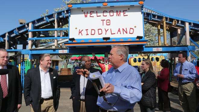 J.T. Falfas, the C.E.O of United Parks, heads up a tour of Westchester legislators at Rye Playland .