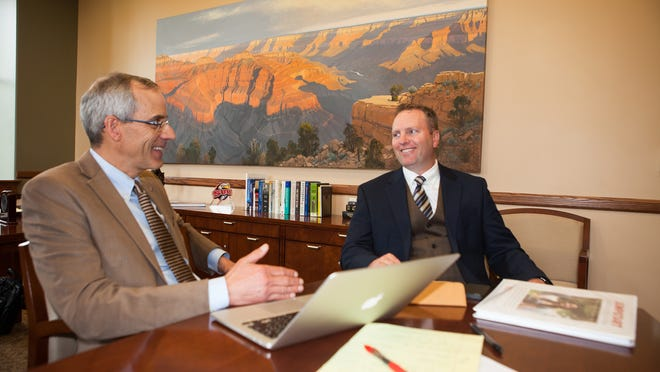 "Southern Utah University President Scott Wyatt (left) and Provost Faculty Fellow John Taylor have worked since the fall to bring ""Jumpstart GE"" to the campus of SUU. The program aims to innovate general education in the undergraduate experience."