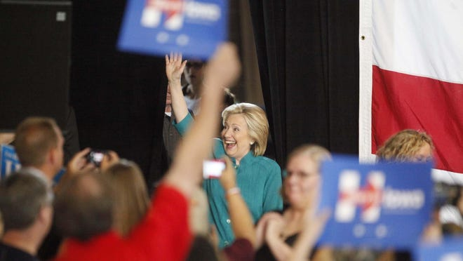 Hillary Clinton waves to the crowd Sunday during her first Iowa rally of the 2016 cycle in June at the Iowa State Fairgrounds.