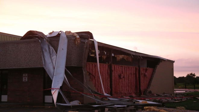 A Hy-Vee grocery store sustained major damage on the south side of Albia on Monday.