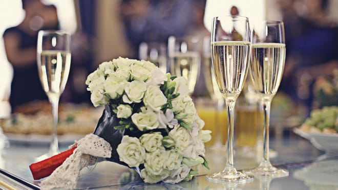 Champagne and wedding bouquet