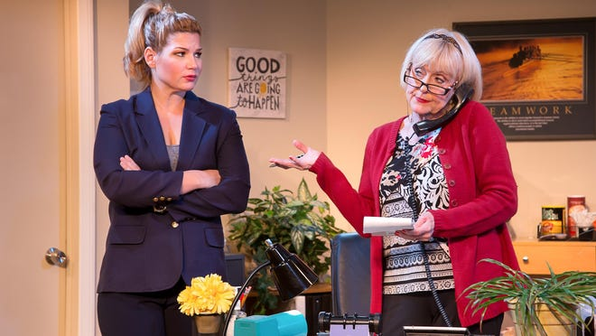"""Theresa Jewett (left) and Deborah Harmon star in the Dezart Performs production of """"The Receptionist"""" through Sunday in Palm Springs."""