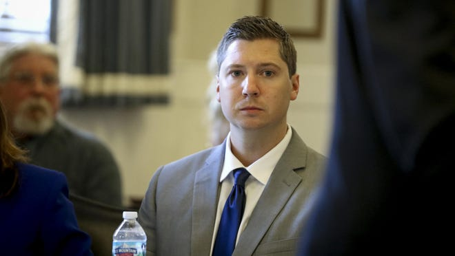 Ray Tensing listens to the opening statement by his defense attorney Stew Mathews on the first day of Tensing's retrial