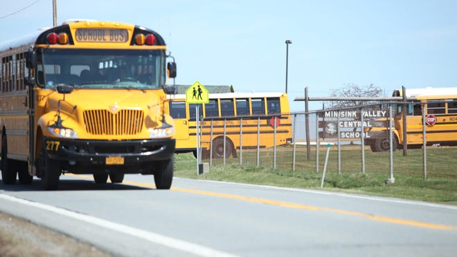 Buses drive to Minisink Valley Central schools.